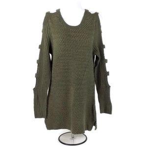 Crave Fame Soft Olive Long Ladder Sleeve Sweater M